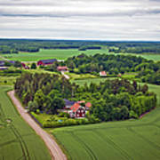 Farms And Fields In Sweden North Europe Art Print