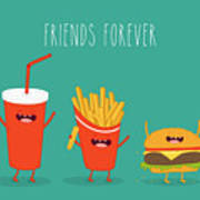 Fast Food Menu. Cola, Hamburger And Art Print
