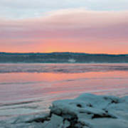 February Sunrise On The Hudson Art Print