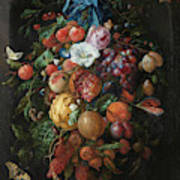 Festoon Of Fruit And Flowers, 1670 Art Print