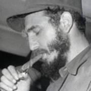 Fidel Castro Lighting A Cigar Art Print