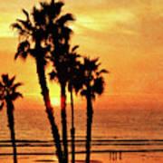 Fiery California Sunset Oceanside Beach Art Print