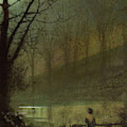 Figure By A Moonlit Lake Painting By John Atkinson Grimshaw