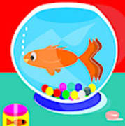 Fish Tank With Fish And Complete Kit Art Print