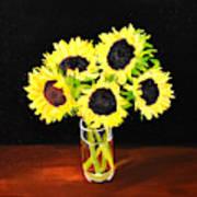 Five Sunflowers Art Print