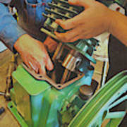 Fixing A Compressor Pump Art Print