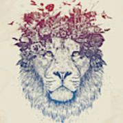 Floral lion III Art Print