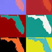 Florida Pop Art Map Art Print