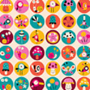 Flowers, Birds, Mushrooms & Snails Art Print