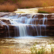 Flowing Water On The Yellow Rock Art Print