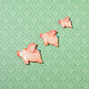 Flying Pig Ornaments On Wallpapered Art Print