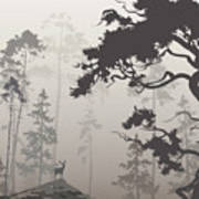 Foggy Landscape With Silhouette Of Art Print