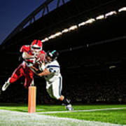 Football Player Diving Into End Zone Art Print