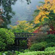 Footbridge In Japanese Garden Art Print