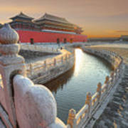 Forbidden City In China During Sunset Art Print