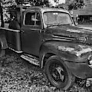 Ford F4 Tow The Truck Hook And Book Black And White Art Print