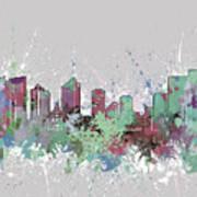 Fort Worth Skyline Artistic Pastel Art Print