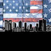 Fort Worth Skyline Flag 3 Art Print