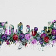 Fort Worth Skyline Floral 2 Art Print