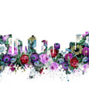Fort Worth Skyline Floral Art Print