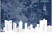 Fort Worth Skyline Map Blue Art Print