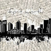 Fort Worth Skyline Music Sheet Art Print