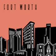 Fort Worth Skyline Panorama Red Art Print