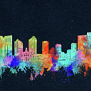 Fort Worth Skyline Watercolor Black Art Print