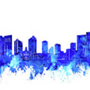 Fort Worth Skyline Watercolor Blue Art Print