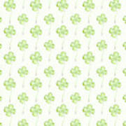 Four Leaf Clover Lucky Charm Pattern Art Print