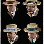 Four Men Wearing Boater Hats Art Print
