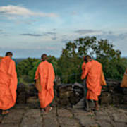 Four Monks And A Phone. Art Print