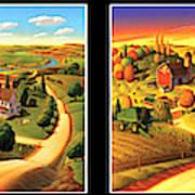 Four Seasons On the Farm/Black Border Art Print