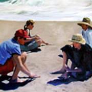 Four Women on the Beach Art Print