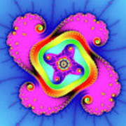 Fractal Art With Bold Colors Square Art Print