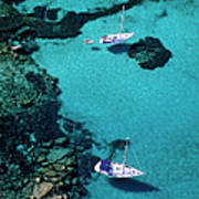 France, Corse Du Sud, Boats Anchored In Art Print