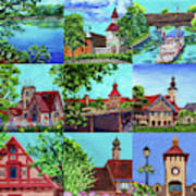 Frankenmuth Downtown Michigan Painting Collage II Art Print