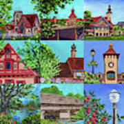 Frankenmuth Downtown Michigan Painting Collage V Art Print
