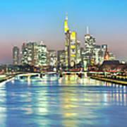 Frankfurt  Night Skyline Art Print