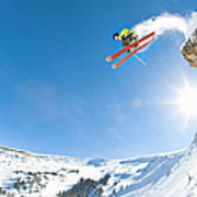 Freestyle Skier Jumping Off Cliff Art Print
