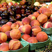 Fresh Peaches At Organic Market Art Print