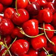 Fresh Red Cherries Art Print
