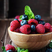 Fresh Sweet Raspberry And Bluberry Art Print