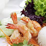 Fried Shrimps With Garlic Art Print