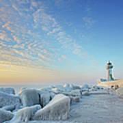 Frozen Lighthouse Art Print