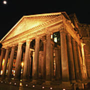 Full Moon Over Pantheon And Portico Art Print