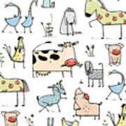 Funny Cartoon Village Domestic Animals Art Print