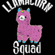 Funny Llamacorn Squad Unicorn Alpaca Lama Art Print