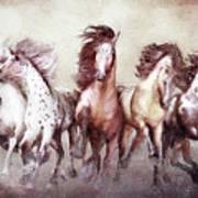 Galloping Horses Magnificent Seven Art Print