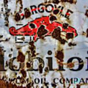 Gargoyle Mobiloil Vacuum Oil Co Rusty Sign Art Print